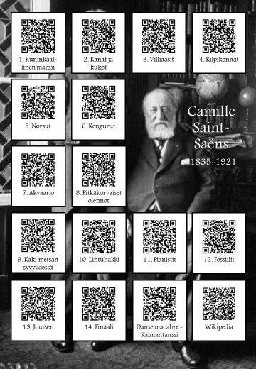 Camille Saint Saens: Eläinten karnevaali QR-koodit johtavat youtube-videoihin.