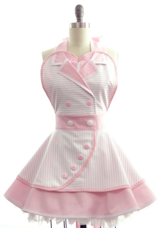 Retro Apron - Titanic Rose - Pink Version - Sexy Womans Aprons - Vintage Apron Style - Victorian Pin up Rockabilly Cosplay