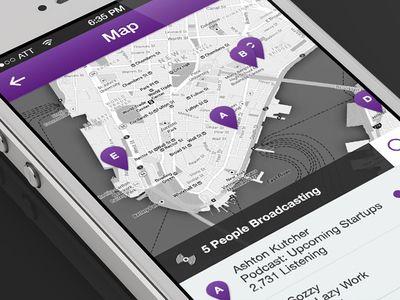 Flat Map Marker Mobile Screen