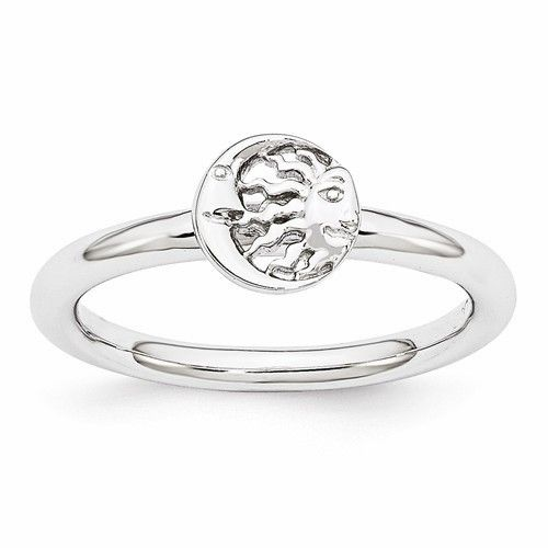 Sterling Silver Stackable Expressions Rhodium Sun/Moon Ring – Sparkle & Jade