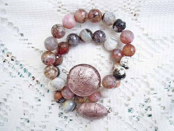 Bracciale romantico, agata colorata, bracciale taglia unica, agata rosa, agata avorio, rosa salmone, colori autunnali, filo wire bracciale