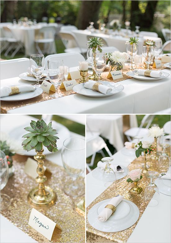 gold and white table ideas @weddingchicks