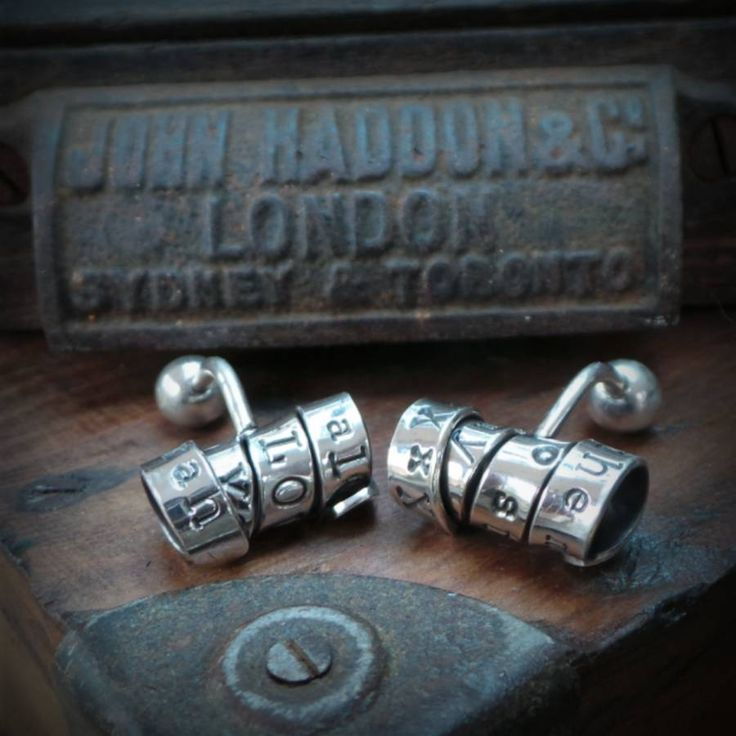 Another quirky original design by the Twisted Typist for those that like something a little different to the norm!You can choose your own personalisation - anything you like using letters, numbers and spaces up to 30 characters long on each cufflink so you can really go to town with what you would like to say. Perhaps it would be the place and time of your wedding, a cheeky message (we won't blush if you don't), you can say a lot with 60 characters. And as the cufflink has to be twisted and…