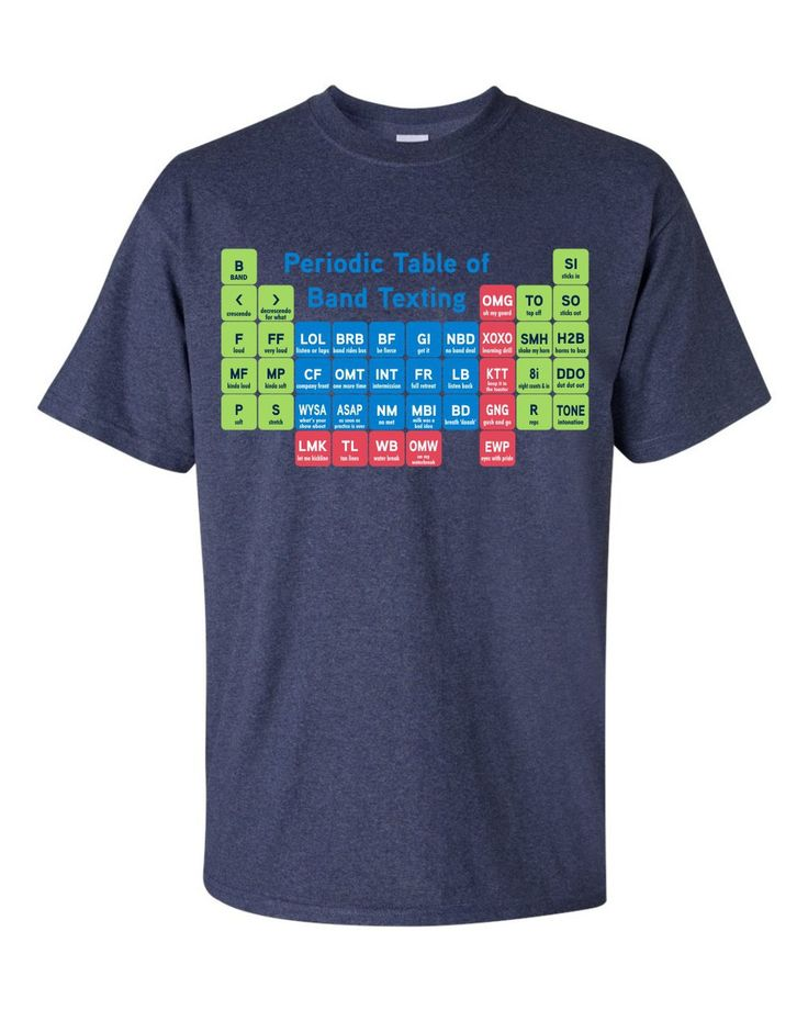 Periodic Table of Marching Band Texting T-Shirt (http://shop.pepwear.com/bandwear/band-texting/)