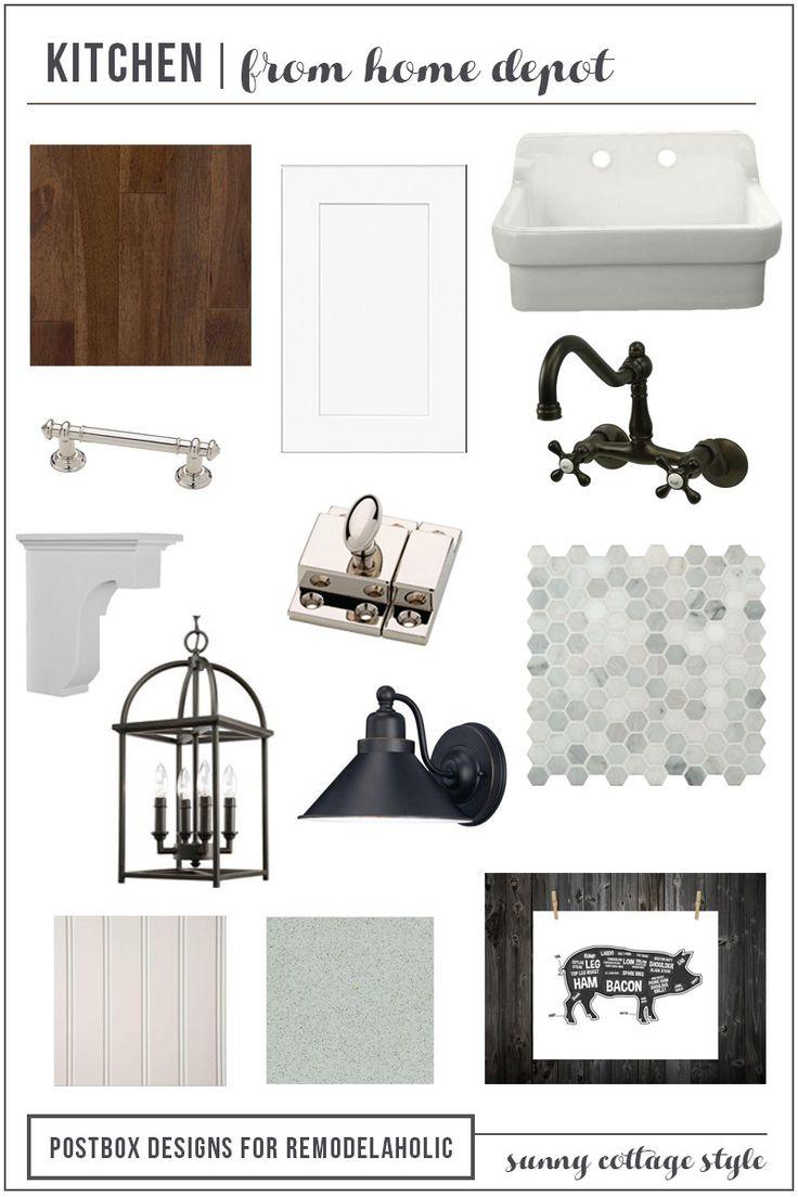 Cottage Kitchen Mood Board by Postbox Designs for Remodelaholic, fixer upper kitchen, kitchen ideas, white kitchen, marble hex tile, lantern chandelier, apron sink