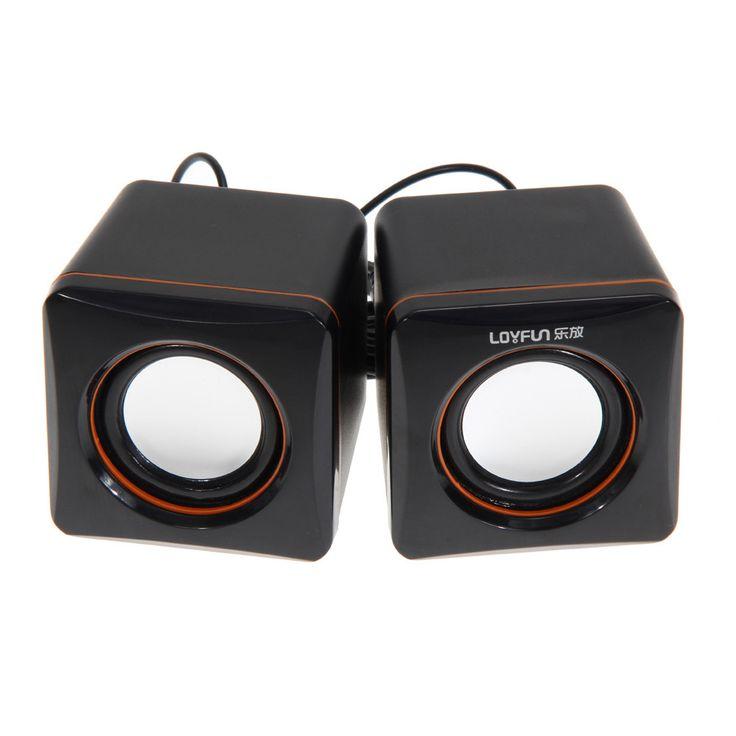 USB DC 5V 3.5mm Audio Interface Stereo Mini PC Speaker Subwoofer Black For Desktop Laptop Notebook Tablet FW1S