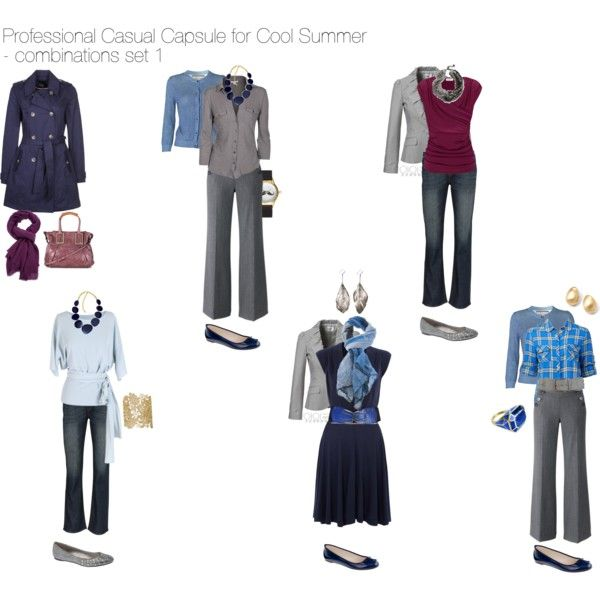 """Professional Casual Capsule for Cool Summer - combinations set 1"" by nofailformula on Polyvore"