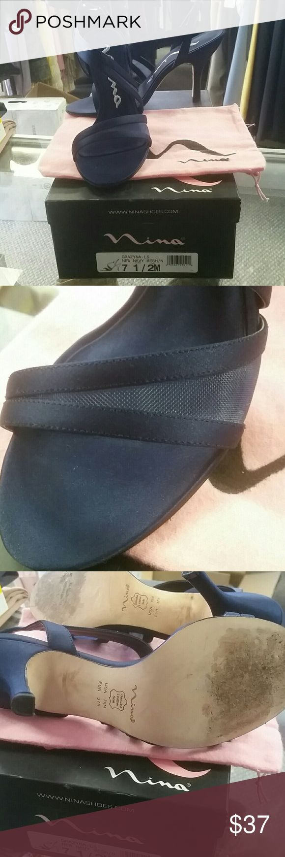 Nina shoes Navy blue Nina slingback heels. Front has small mesh piece that adds interest. Worn twice, but still in fantastic condition. Nina Shoes Heels