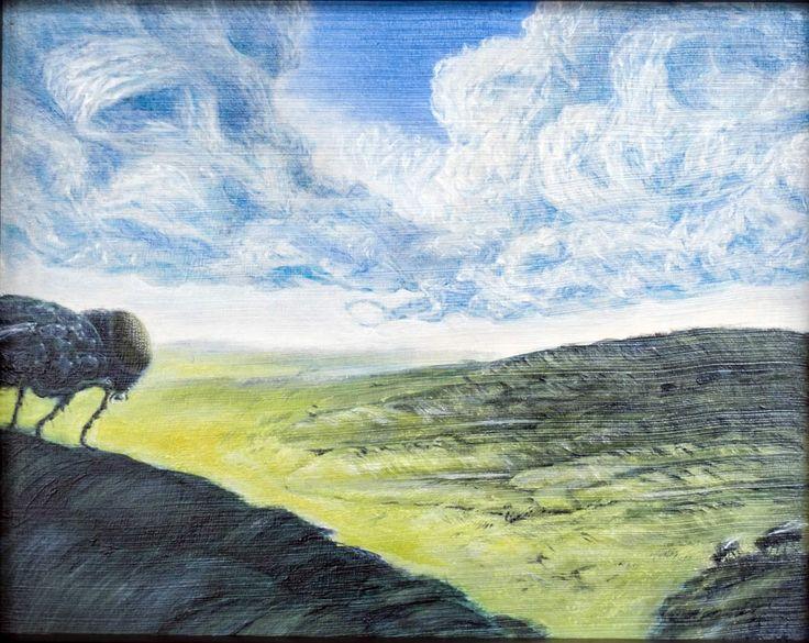 Pasture by Damien Baumgartner. 2014. Oil on board. 25 x 30cm framed. $550.