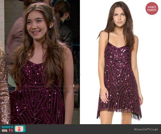 Riley's purple sequin dress on Girl Meets World.  Outfit Details: http://wornontv.net/47340/ #GirlMeetsWorld