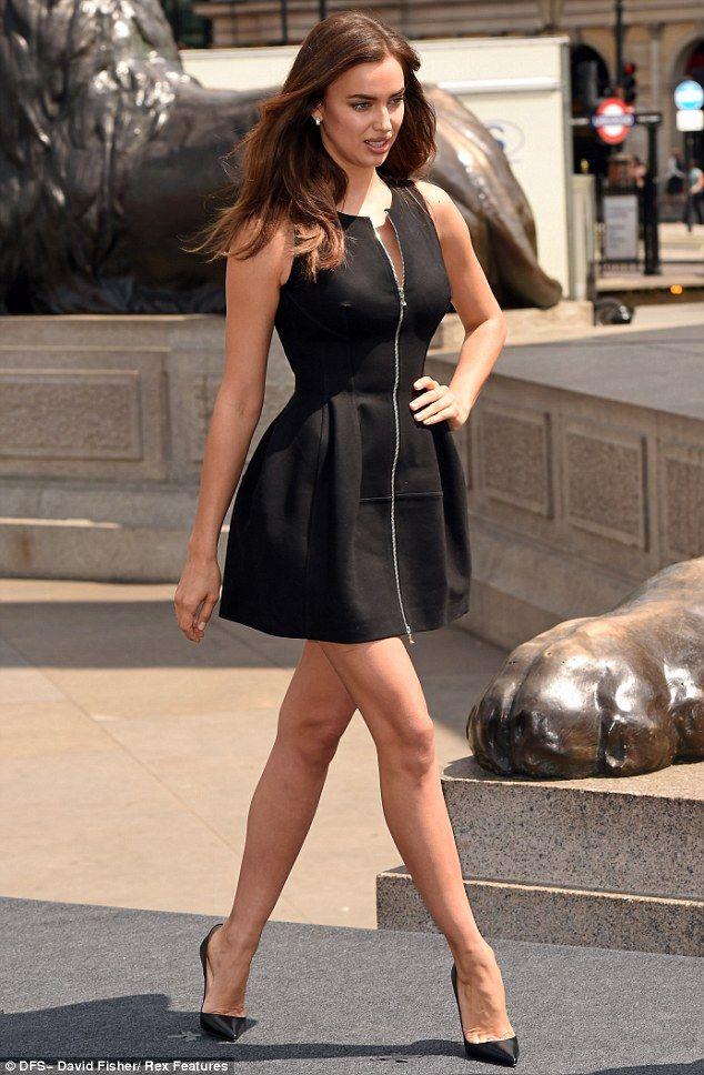 Striking: Cristiano Ronaldo's girlfriend Irina Shayk poses at London's Trafalgar Square