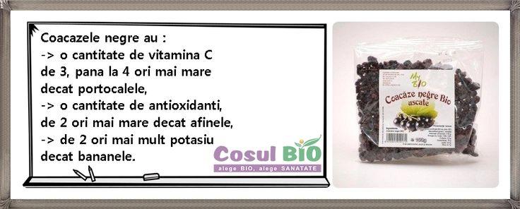 Coacazele negre au :  - o cantitate de vitamina C de trei până la patru ori mai mare decât portocalele, - o cantitate de antioxidanţi, de două ori mai mare decât afinele,  - de doua ori mai mult dublul potasiu decât bananele.