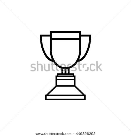 Trophy icon, line art vector Illustration.