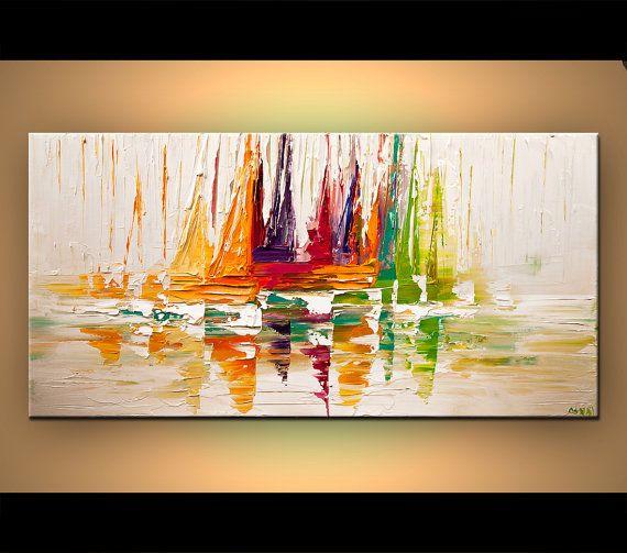 Voile bateau Art contemporain Original moderne abstrait paysage marin peinture sur toile colorée couteau à Palette MADE-TO-ORDER par Osnat 48 x 24