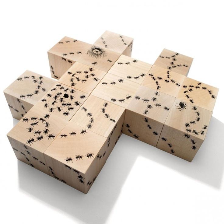 Houten puzzelblokken met mieren, Uncle Goose