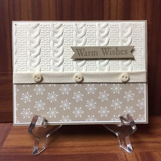 Stamp with Anna: Stampin Up, Warm Wishes, Cable Knit Embossing Folder, winter card