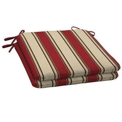 hampton bay wide chili stripe outdoor seat pad - Patio Seat Cushions
