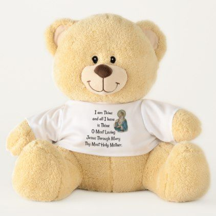 Consecration to Jesus through Mary Prayer Devotion Teddy Bear - animal gift ideas animals and pets diy customize