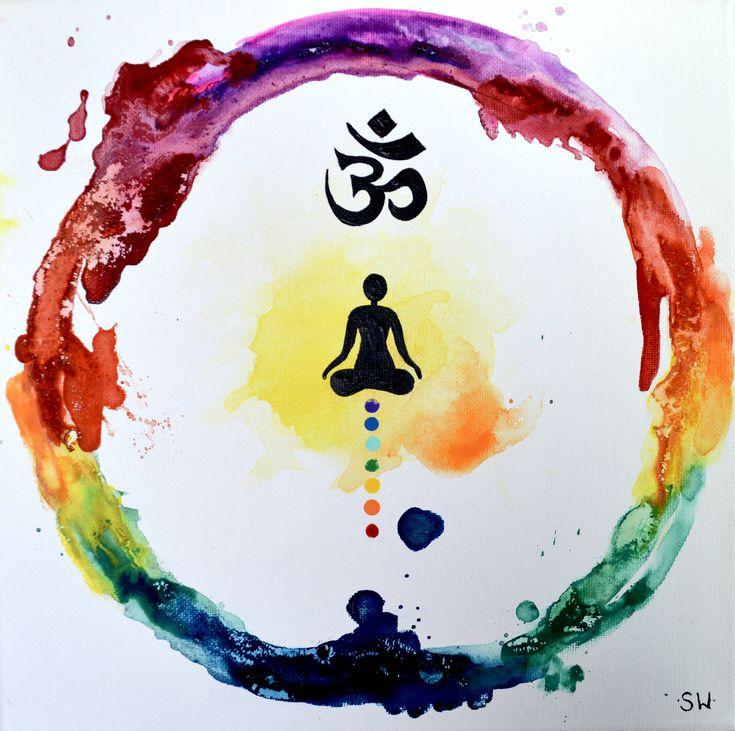 Rainbow Meditation Ring, Original Painting, chakra, energy, yoga, rainbow, om, ohm, canvas, zen by sheriwiseman on Etsy