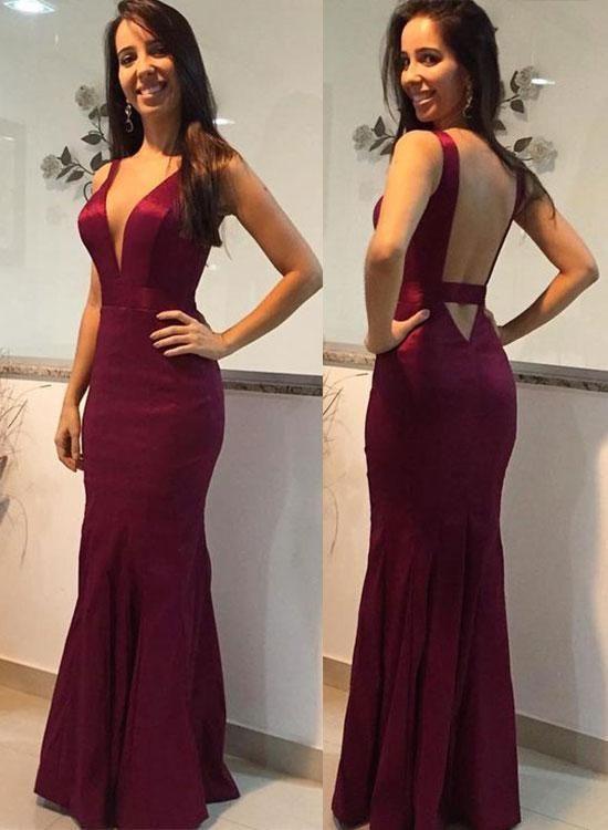 Burgundy V-Neck Sheath Long Prom Dress,Open Back Mermaid Evening Dress