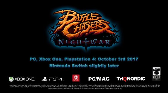"""Battle Chasers: Nightwar delayed on Switch coming """"slightly later"""" than Oct. 3rd   This sneaky blurb was put at the end of the most recent trailer for Battle Chasers: Nightwar. This seems to happen a lot with multiplatform releases on Switch. Not sure why it keeps cropping up but hopefully it's something we see happen less and less as the Switch's first year rolls on.  from GoNintendo Video Games"""