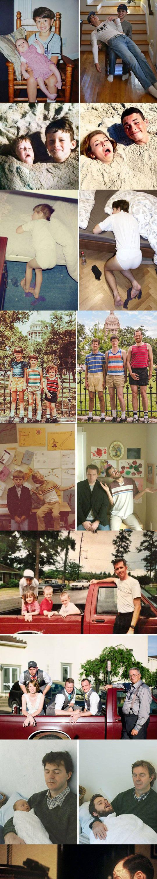Before And After, Creative Recreations Of Childhood Photos - Hilarious!!!