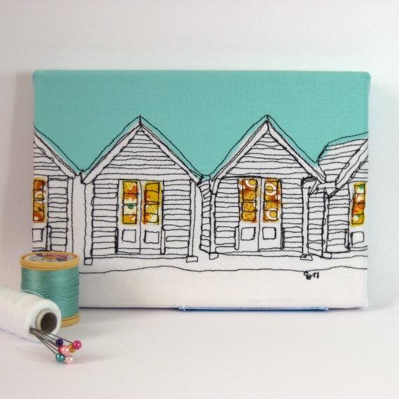beach huts - textile art