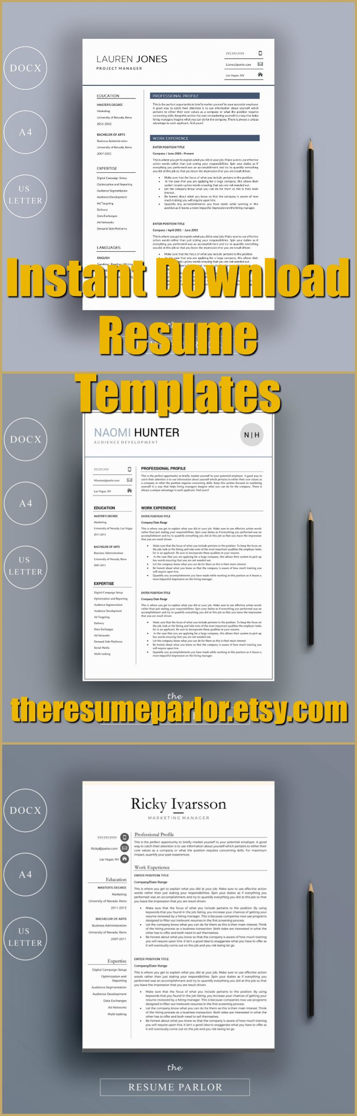 Super easy to fill out resume template for MS Word. Compatible with MS Word 2007 and later docx format.