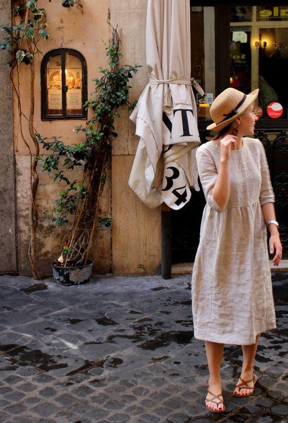 Linen Dress/ Flax Dress/ Casual Linen Dress/ Linen by TarliniShop
