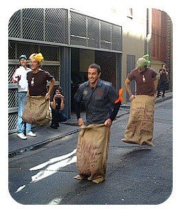 Silly party games - 3 guys sack racing