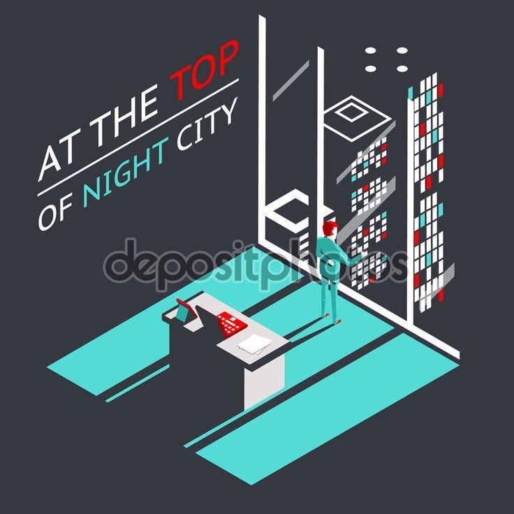 Uomo d'affari alla parte superiore di una città di notte nel laboratorio ufficio attico con laptop e documenti isometrica design piatto concetto - Illustrazione vettoriale: 57086827