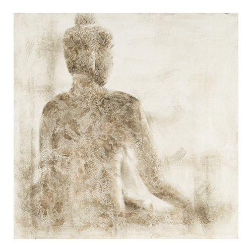 Wit en grijs handgeschilderd OMBRE doek met Boeddha 100 x 100 cm