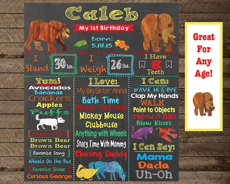 First birthday chalkboard, brown bear brown bear chalkboard, brown bear birthday party, brown bear brown bear theme party print, bday poster by InJOYPrints on Etsy https://www.etsy.com/listing/290095131/first-birthday-chalkboard-brown-bear