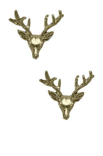 Wildfox Couture Jewelry Gold Stud Deer Earrings