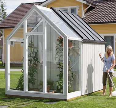 Great Idea For A Garden Shed With A Small Greenhouse Attached.