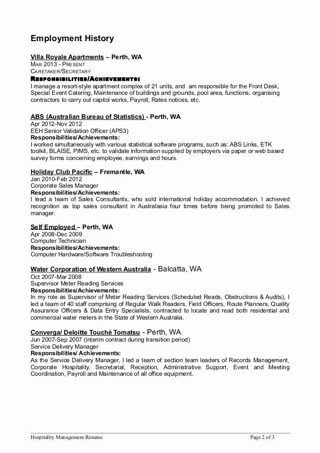 Apartment Maintenance Technician Resume Awesome Hospitality Mgmt Resume 5 In 2020 Job Resume Examples Job Resume Samples Teaching Resume