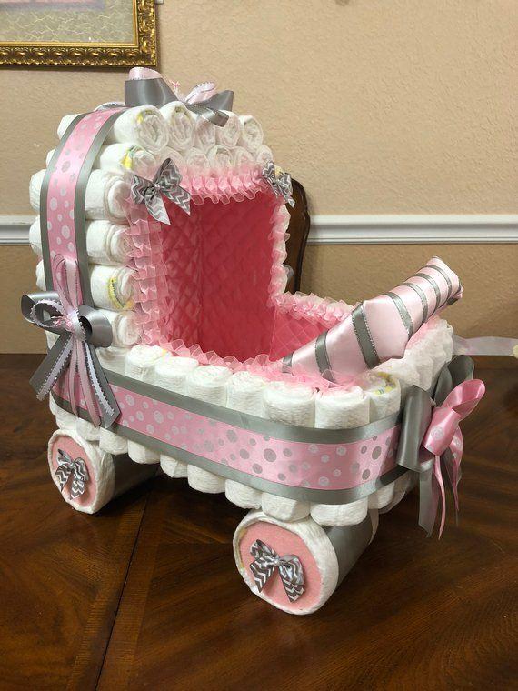 Rosa und grau Kinderwagen / Chevron Windel Kinderwagen / Polka Dot   Etsy   – Baby shower diaper cake