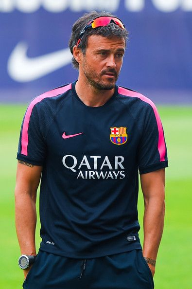 Head coach Luis Enrique looks on during a FC Barcelona training session at Ciutat Esportiva de Sant Joan Despi on July 25, 2014 in Barcelona, Catalonia.