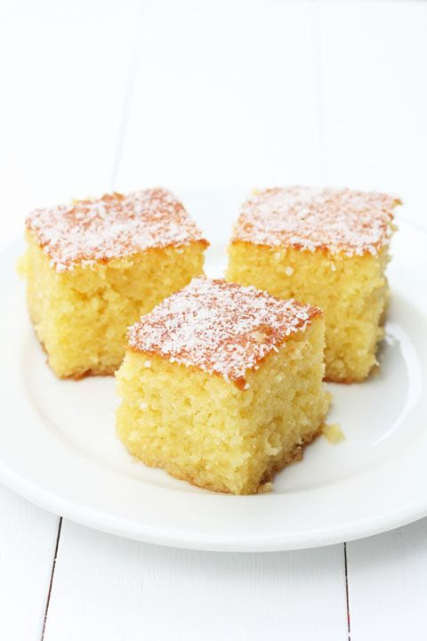 Coconut ravani- coconut semolina cake. It's not traditional Greek (with the coconut) but my daughter will love it!