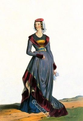Burgundian, early to mid-15th century court dress