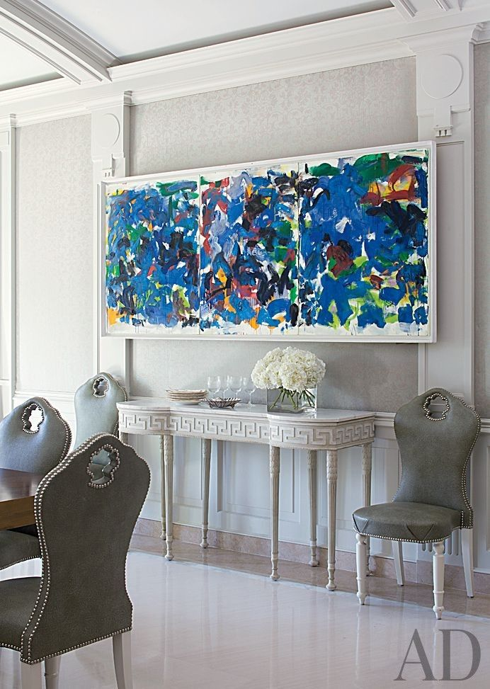 Joan Mitchell Painting Hangs In A Palm Beach Dining Room Decorated By Aman Carson Florida