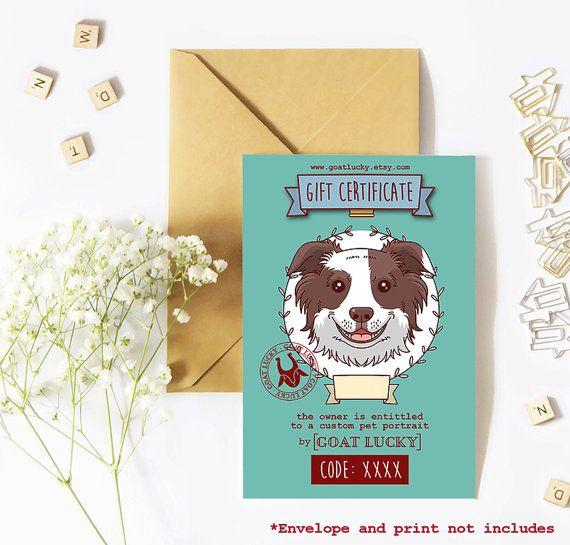 Certificado istantaneo. Regalo de retrato de perro. Retrato de mascota. Regalo de última hora. Ilustración perro. Regalo ilustración mascota