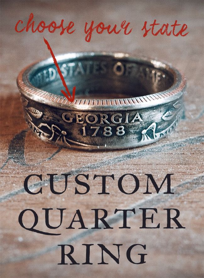 "These rings showcase state quarters in a unique way — which is to say, they're made from them. Each uncirculated quarter is hand-picked and formed into a ring. The front of the ring will have the state name, and the back of the ring will have the year the quarter was put into circulation. On the inside you will see ""United States of America"" as well as ""E Pluribus Unum."""