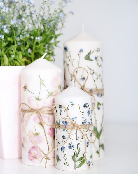 Muttertags DIY Geschenkidee Kerze mit getrockneten Blumen