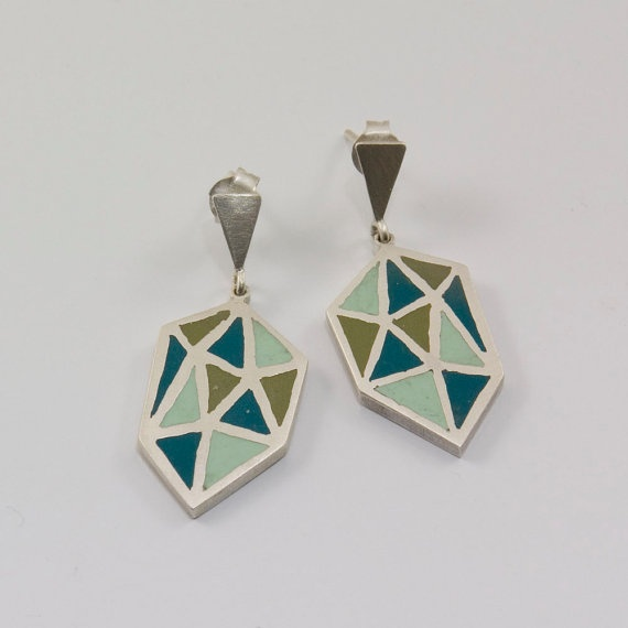 POLIEDRA sterling silver and polymer clay earrings in teal, mint green and olive green