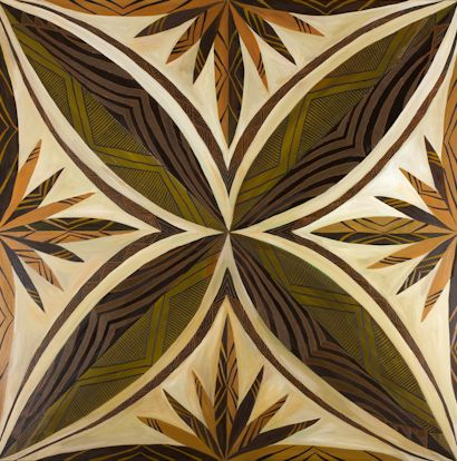 This painting 'Siapo' is named in honor of the Siapo artwork of Samoa and Polynesian cultures which have developed vartions of the artwork and named differently.