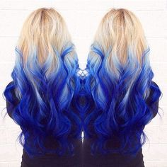 long blonde hair with blue ombre