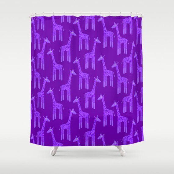 Purple Giraffe Shower Curtain, Purple Shower Curtain, Purple Bathroom Decor, Purple Bathroom Accessories, Cute Bathroom Decor – Products
