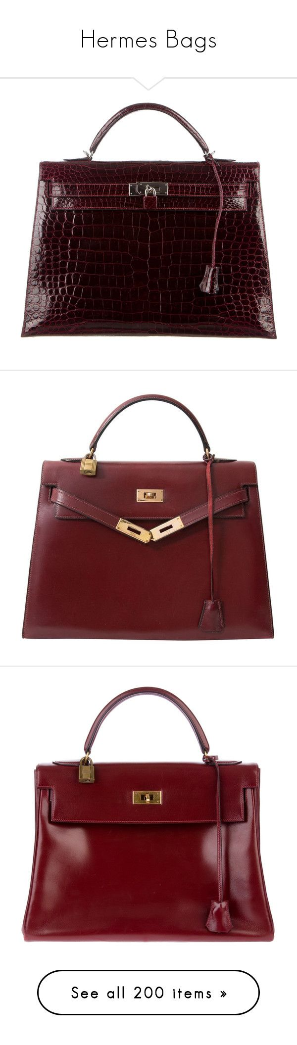 """""""Hermes Bags"""" by fufuun ❤ liked on Polyvore featuring bags, handbags, burgundy, burgundy handbags, hand bags, man bag, croc handbags, crocodile handbags, bolsas and purses"""