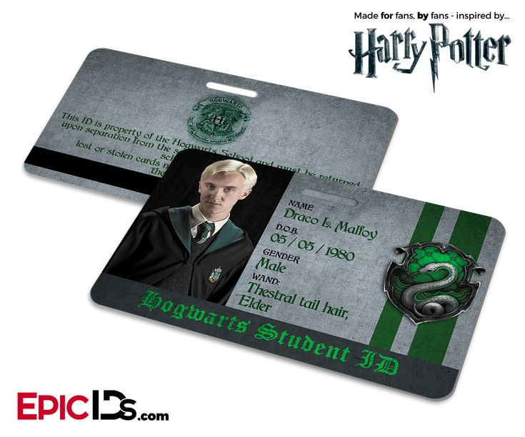 Harry Potter Inspired Hogwarts Student Id Slytherin Draco Malfoy Produtos Do Harry Potter Hogwarts Slytherin